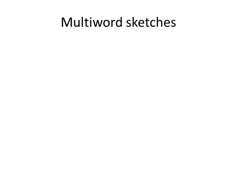In sum Two-word multiwords – Solved More than two – Hard – Build on word sketches – Two implemented solutions Multiword sketches Commonest string Thank you