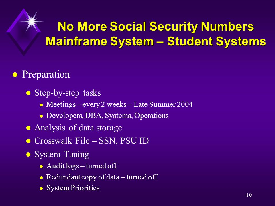 10 No More Social Security Numbers Mainframe System – Student Systems l Preparation l Step-by-step tasks l Meetings – every 2 weeks – Late Summer 2004 l Developers, DBA, Systems, Operations l Analysis of data storage l Crosswalk File – SSN, PSU ID l System Tuning l Audit logs – turned off l Redundant copy of data – turned off l System Priorities