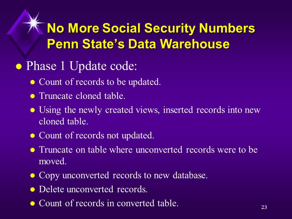 23 No More Social Security Numbers Penn State's Data Warehouse l Phase 1 Update code: l Count of records to be updated.