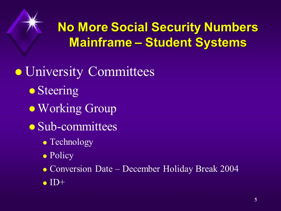 5 No More Social Security Numbers Mainframe – Student Systems l University Committees l Steering l Working Group l Sub-committees l Technology l Policy l Conversion Date – December Holiday Break 2004 l ID+