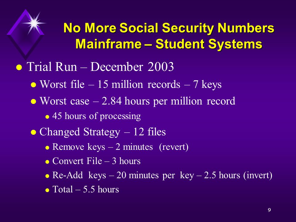 9 No More Social Security Numbers Mainframe – Student Systems l Trial Run – December 2003 l Worst file – 15 million records – 7 keys l Worst case – 2.84 hours per million record l 45 hours of processing l Changed Strategy – 12 files l Remove keys – 2 minutes (revert) l Convert File – 3 hours l Re-Add keys – 20 minutes per key – 2.5 hours (invert) l Total – 5.5 hours