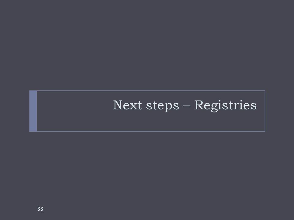 Next steps – Registries 33