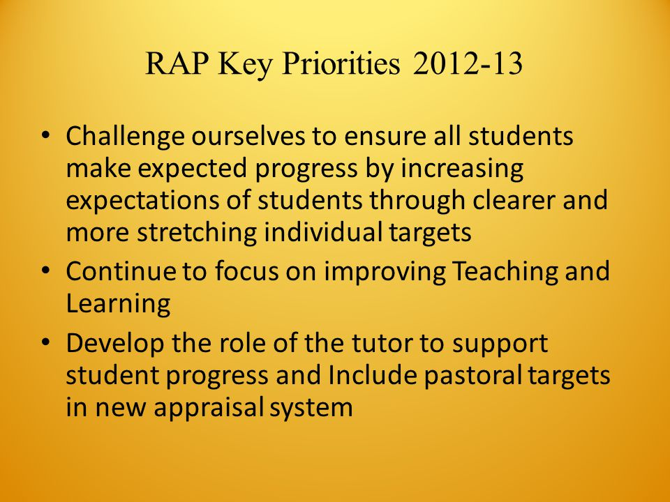 RAP Key Priorities 2012-13 Challenge ourselves to ensure all students make expected progress by increasing expectations of students through clearer and more stretching individual targets Continue to focus on improving Teaching and Learning Develop the role of the tutor to support student progress and Include pastoral targets in new appraisal system