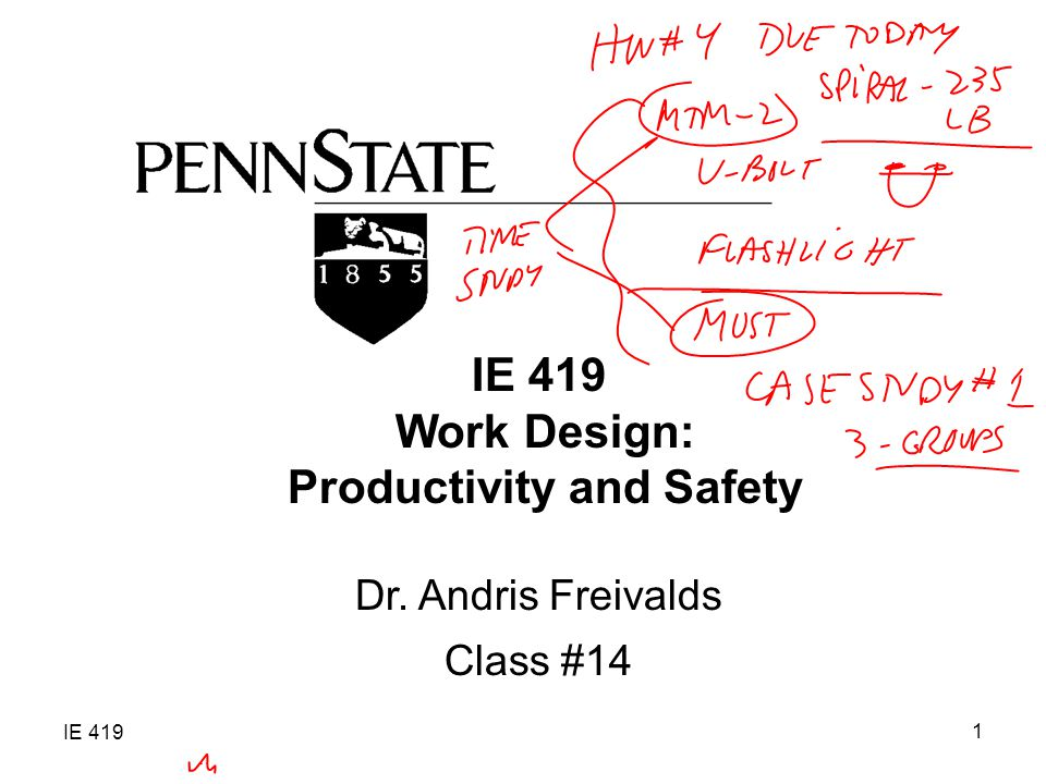 IE 419 1 Work Design: Productivity and Safety Dr. Andris Freivalds Class #14