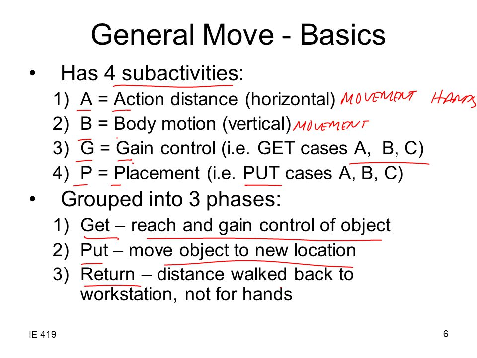 IE 419 6 General Move - Basics Has 4 subactivities: 1)A = Action distance (horizontal) 2)B = Body motion (vertical) 3)G = Gain control (i.e.