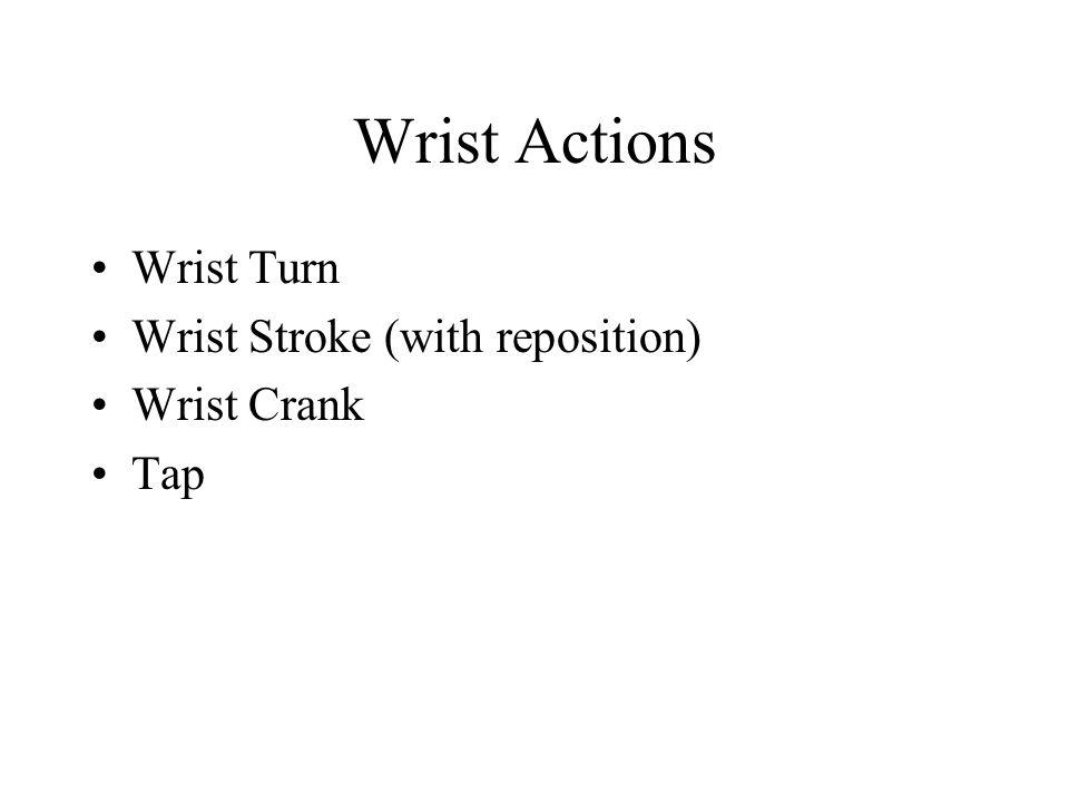 Wrist Actions Wrist Turn Wrist Stroke (with reposition) Wrist Crank Tap