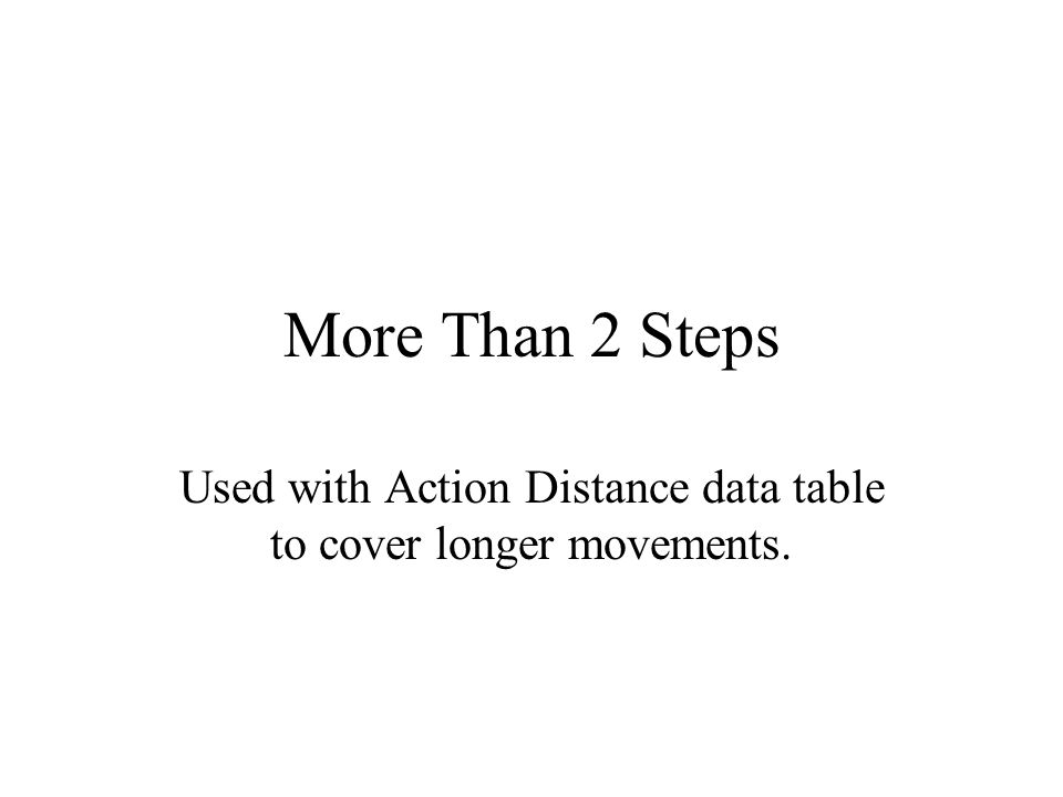 More Than 2 Steps Used with Action Distance data table to cover longer movements.