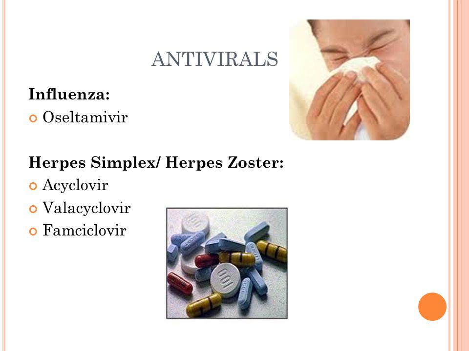 ANTIVIRALS Influenza: Oseltamivir Herpes Simplex/ Herpes Zoster: Acyclovir Valacyclovir Famciclovir