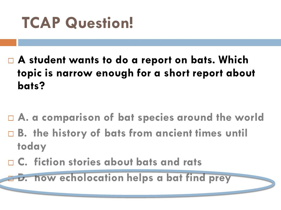  A student wants to do a report on bats.