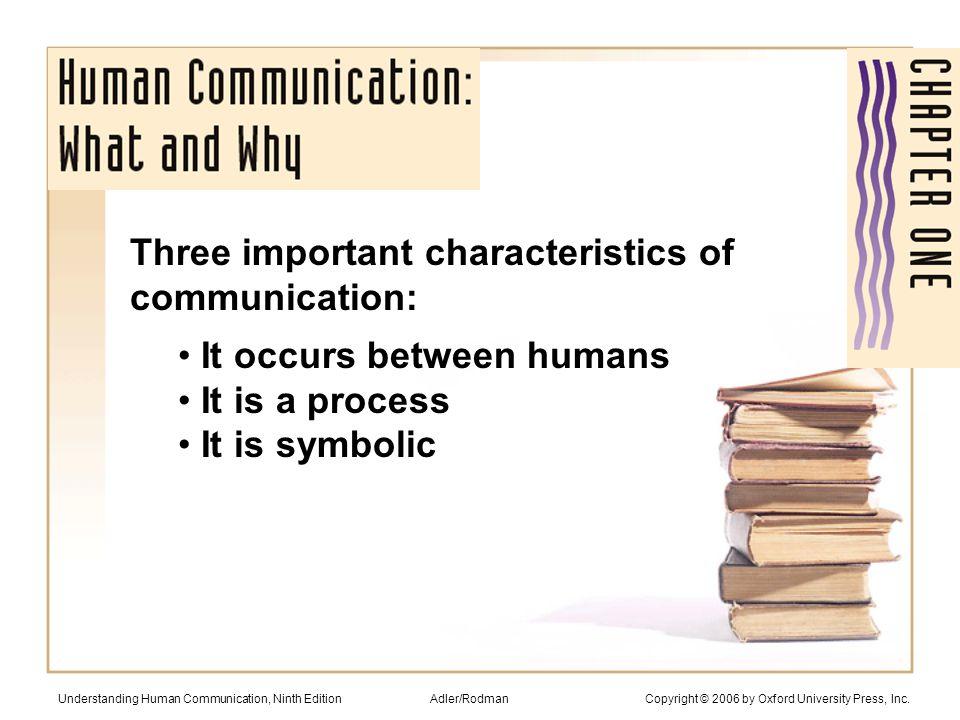 Types of communication: Intrapersonal Dyadic/interpersonal Small group Public Mass Understanding Human Communication, Ninth Edition Adler/Rodman Copyright © 2006 by Oxford University Press, Inc.