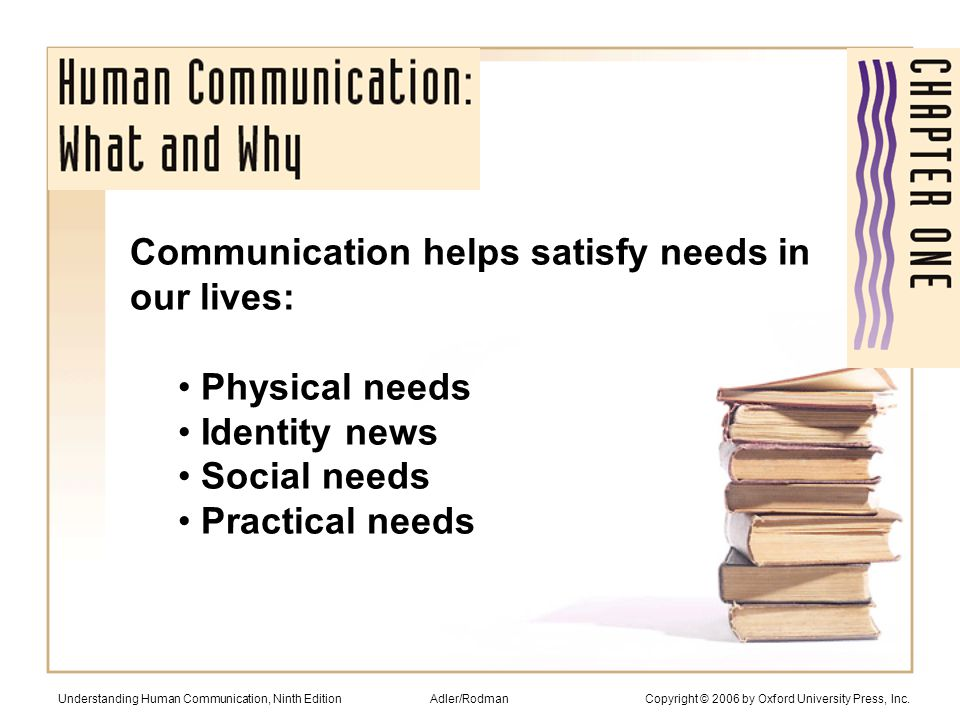Physical needs (lack strong relationships, 2-3 x the risk of early death) Identity needs (who we are) Social needs (communicate pleasure, help others, inclusion, escape, relaxation, control) Practical needs (what we want done) Understanding Human Communication, Ninth Edition Adler/Rodman Copyright © 2006 by Oxford University Press, Inc.