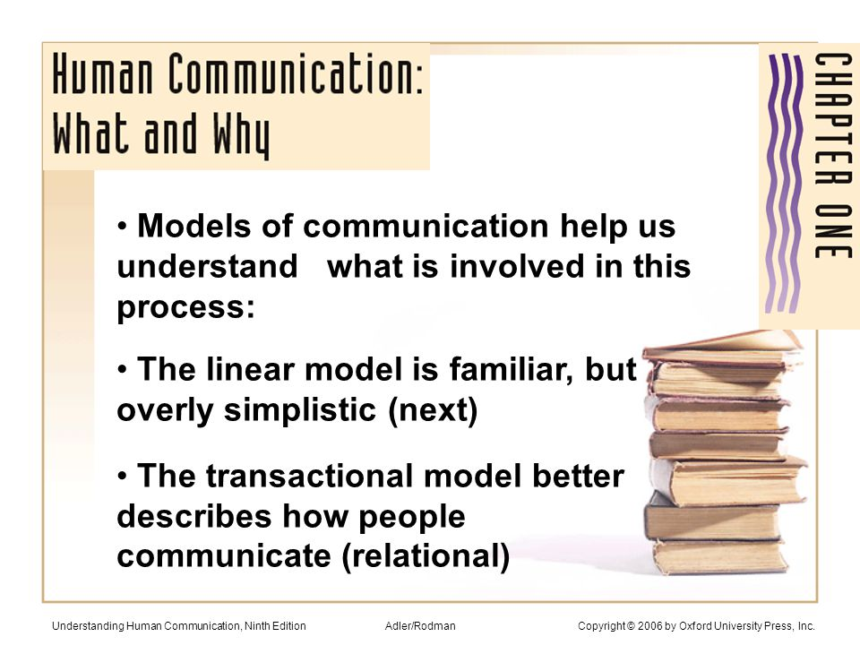 Communication won't solve all problems It takes much more Meanings rest in people, not words He's loaded Understanding Human Communication, Ninth Edition Adler/Rodman Copyright © 2006 by Oxford University Press, Inc.