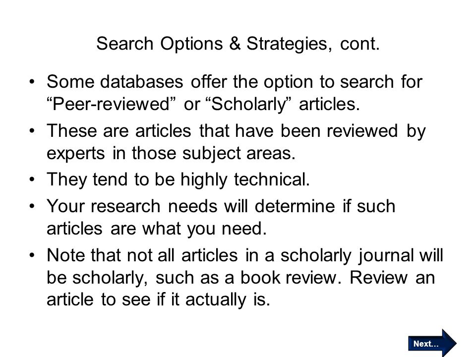 Search Options & Strategies, cont.