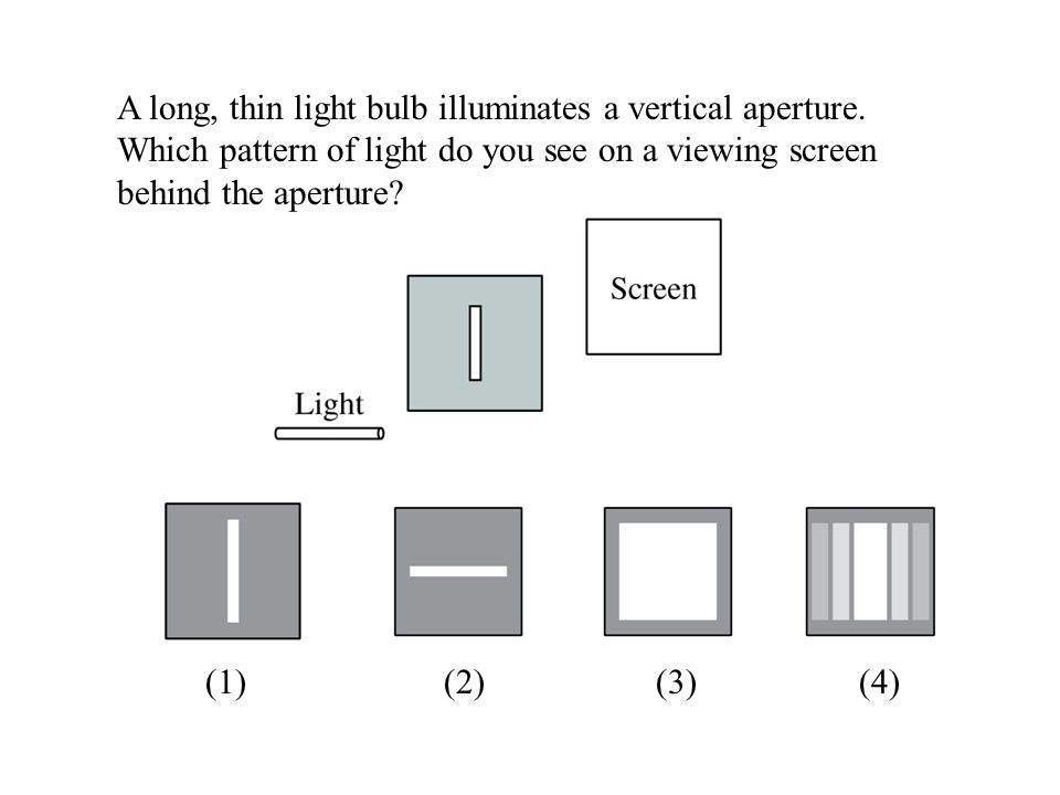 A long, thin light bulb illuminates a vertical aperture. Which pattern of light do you see on a viewing screen behind the aperture? (1) (2) (3) (4)