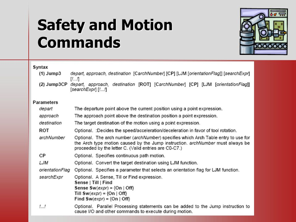 Safety and Motion Commands