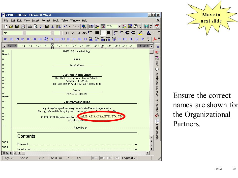 JMM20 Ensure the correct names are shown for the Organizational Partners.