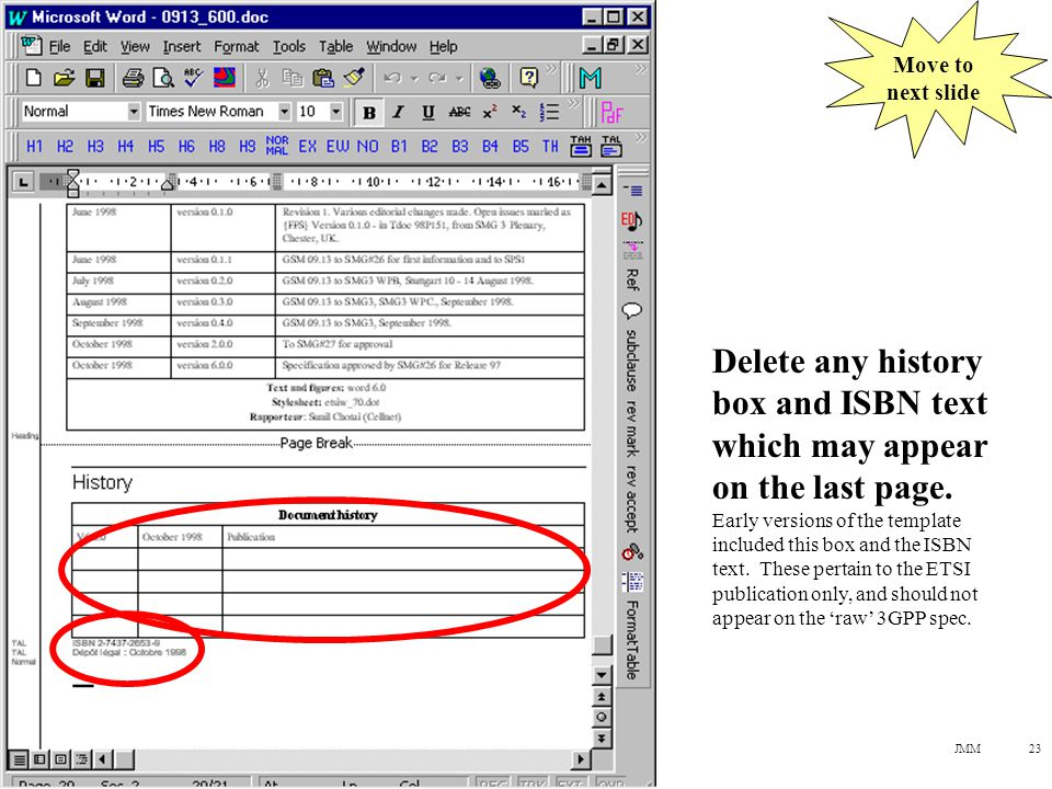 JMM23 Delete any history box and ISBN text which may appear on the last page.