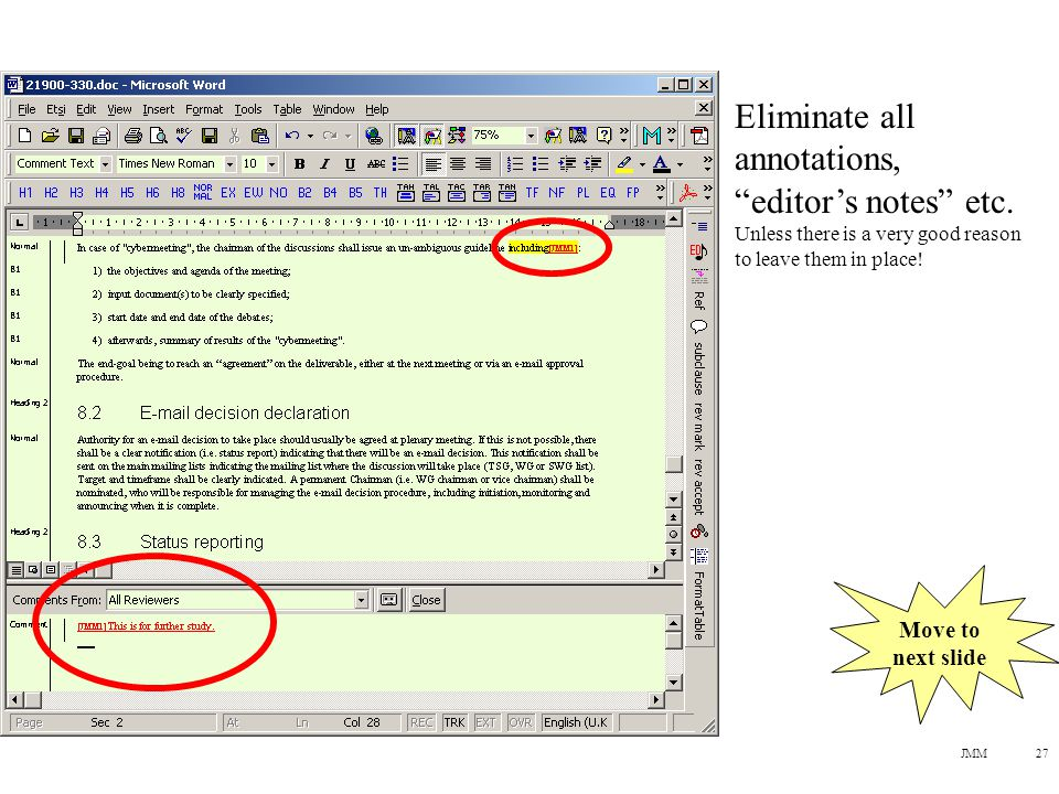 JMM27 Eliminate all annotations, editor's notes etc.