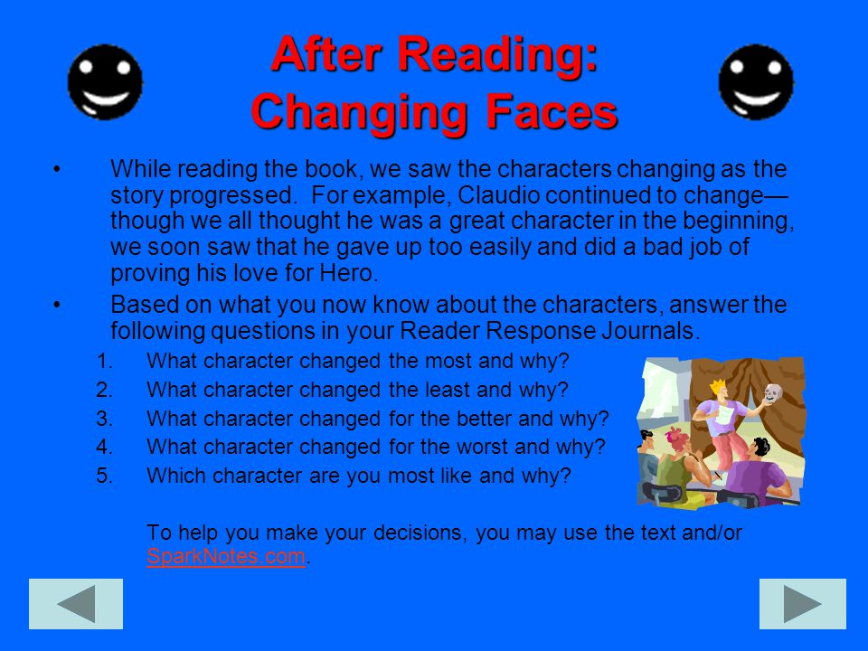After Reading: Changing Faces While reading the book, we saw the characters changing as the story progressed.