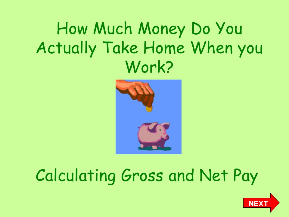 How Much Money Do You Actually Take Home When you Work Calculating Gross and Net Pay NEXT