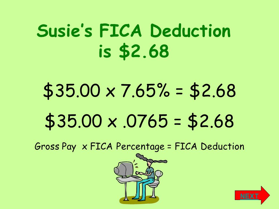 Susie's FICA Deduction is $2.68 Gross Pay x FICA Percentage = FICA Deduction $35.00 x 7.65% = $2.68 $35.00 x.0765 = $2.68 NEXT