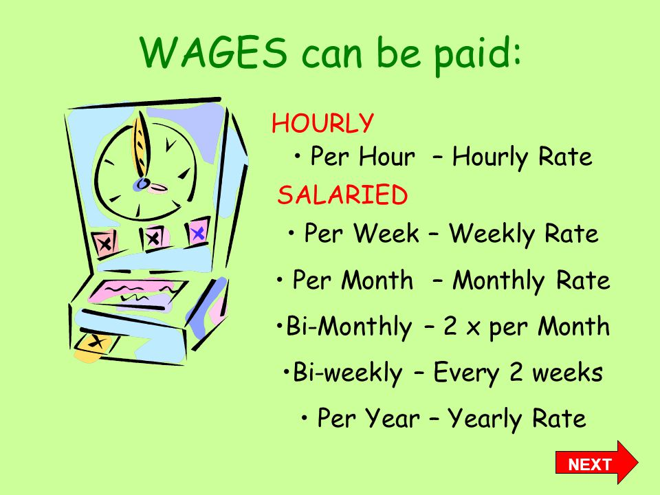 WAGES can be paid: Per Hour – Hourly Rate Per Week – Weekly Rate Per Month – Monthly Rate Bi-Monthly – 2 x per Month Bi-weekly – Every 2 weeks Per Year – Yearly Rate NEXT HOURLY SALARIED