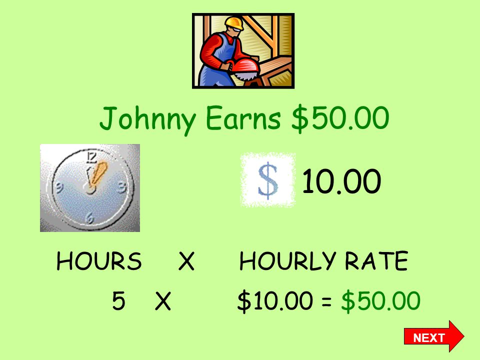 Johnny Earns $50.00 10.00 5 X $10.00 = $50.00 HOURS X HOURLY RATE NEXT