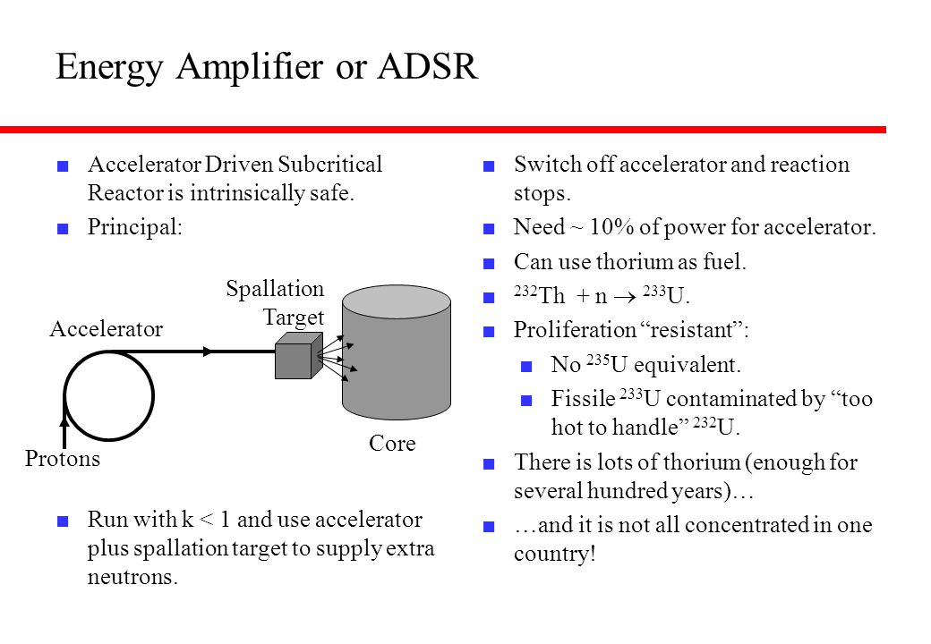 Energy Amplifier or ADSR ■ Accelerator Driven Subcritical Reactor is intrinsically safe. ■ Principal: ■ Run with k < 1 and use accelerator plus spalla