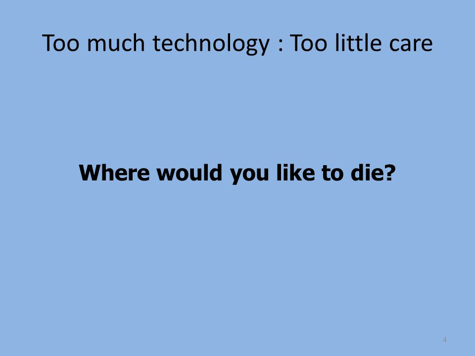 Too much technology : Too little care Where would you like to die 4
