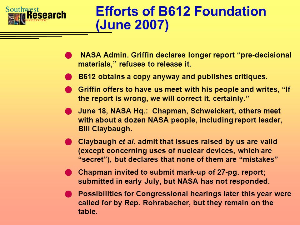 Efforts of B612 Foundation (June 2007) NASA Admin.