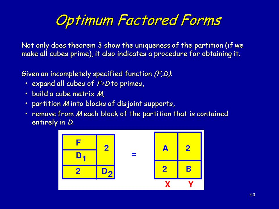 48 Optimum Factored Forms Not only does theorem 3 show the uniqueness of the partition (if we make all cubes prime), it also indicates a procedure for obtaining it.