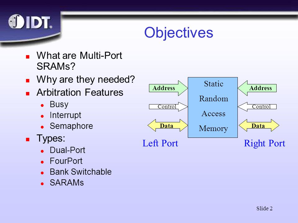 ® Slide 2 Objectives n What are Multi-Port SRAMs? n Why are they needed? n Arbitration Features l Busy l Interrupt l Semaphore n Types: l Dual-Port l