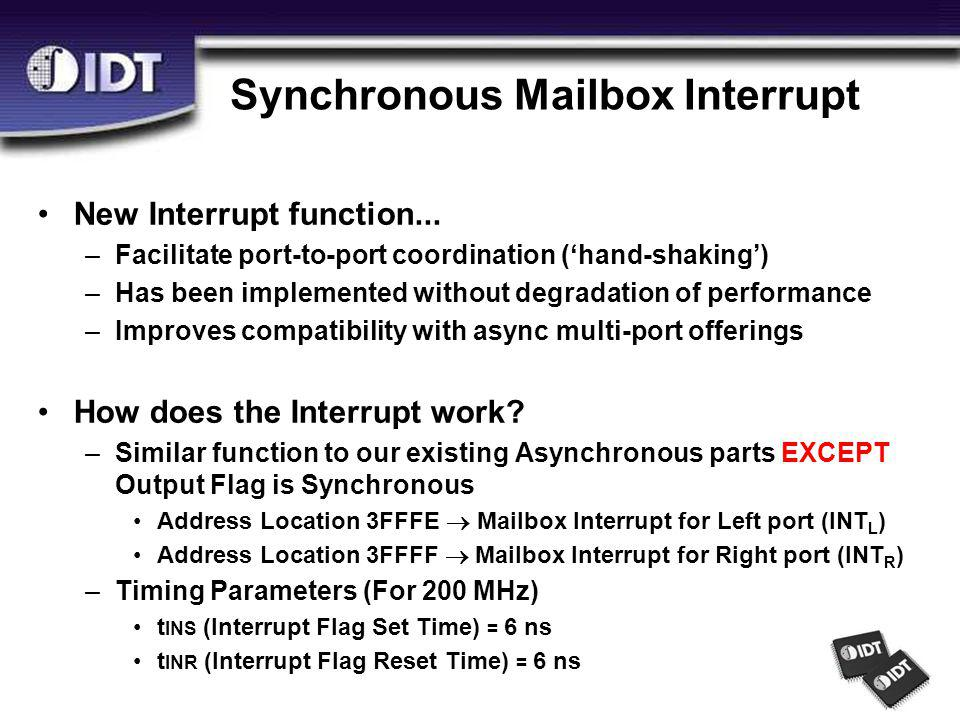 Synchronous Mailbox Interrupt New Interrupt function...