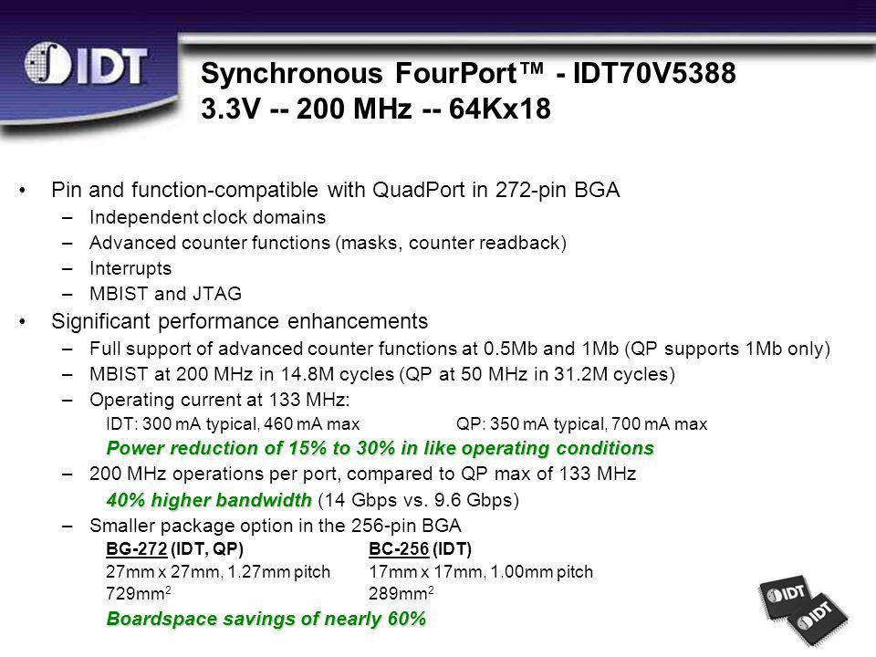 Synchronous FourPort™ - IDT70V5388 3.3V -- 200 MHz -- 64Kx18 Pin and function-compatible with QuadPort in 272-pin BGA –Independent clock domains –Advanced counter functions (masks, counter readback) –Interrupts –MBIST and JTAG Significant performance enhancements –Full support of advanced counter functions at 0.5Mb and 1Mb (QP supports 1Mb only) –MBIST at 200 MHz in 14.8M cycles (QP at 50 MHz in 31.2M cycles) –Operating current at 133 MHz: IDT: 300 mA typical, 460 mA maxQP: 350 mA typical, 700 mA max Power reduction of 15% to 30% in like operating conditions –200 MHz operations per port, compared to QP max of 133 MHz 40% higher bandwidth 40% higher bandwidth (14 Gbps vs.