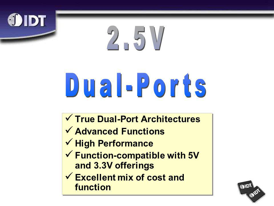 True Dual-Port Architectures Advanced Functions High Performance Function-compatible with 5V and 3.3V offerings Excellent mix of cost and function True Dual-Port Architectures Advanced Functions High Performance Function-compatible with 5V and 3.3V offerings Excellent mix of cost and function