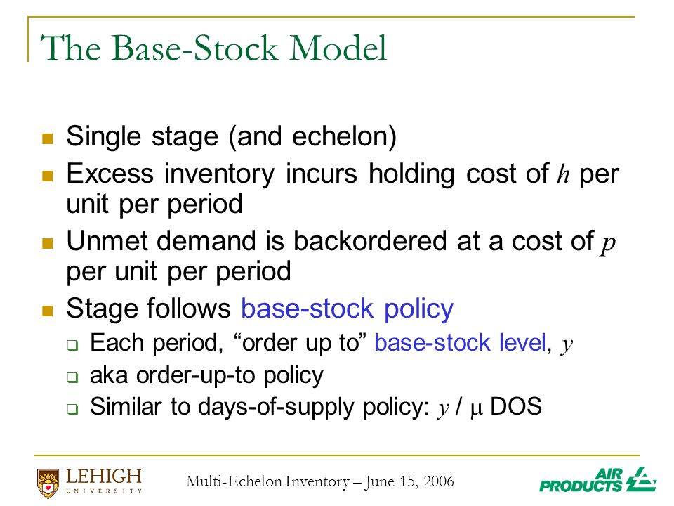 Multi-Echelon Inventory – June 15, 2006 The Base-Stock Model Single stage (and echelon) Excess inventory incurs holding cost of h per unit per period Unmet demand is backordered at a cost of p per unit per period Stage follows base-stock policy  Each period, order up to base-stock level, y  aka order-up-to policy  Similar to days-of-supply policy: y /  DOS