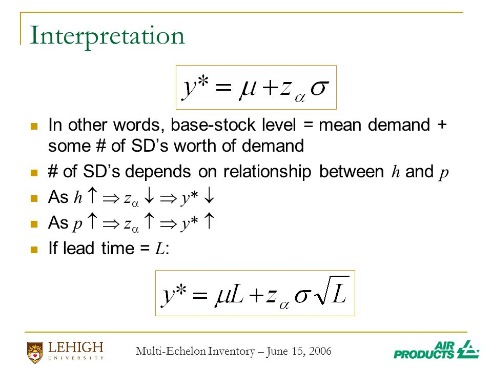 Multi-Echelon Inventory – June 15, 2006 Interpretation In other words, base-stock level = mean demand + some # of SD's worth of demand # of SD's depends on relationship between h and p As  h  z    y*  As  p  z    y*  If lead time = L :