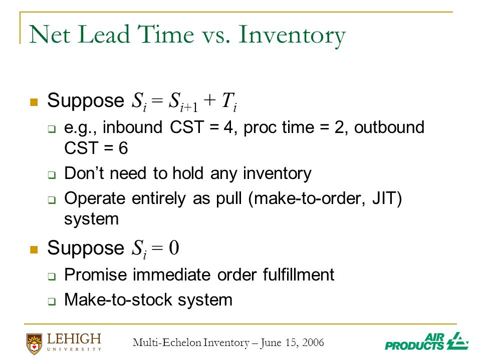 Multi-Echelon Inventory – June 15, 2006 Net Lead Time vs.