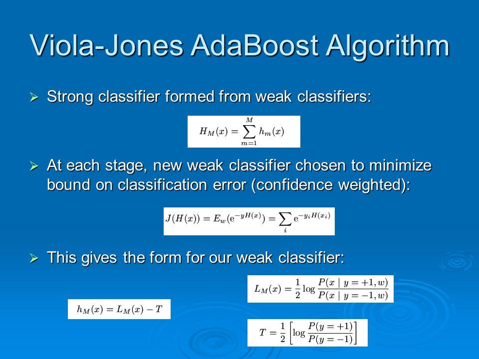 Viola-Jones AdaBoost Algorithm  Strong classifier formed from weak classifiers:  At each stage, new weak classifier chosen to minimize bound on clas