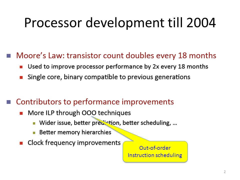 2 Processor development till 2004 Out-of-order Instruction scheduling Out-of-order Instruction scheduling