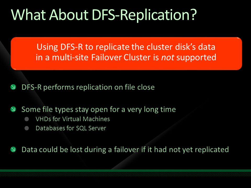 Disk Resource Resource Group Custom Resource (manages replication) IP Address Resources* Network Name Resource Establishes start order timing Group determines smallest unit of failover Resource Dependencies Workload Resource (example File Server) depends on