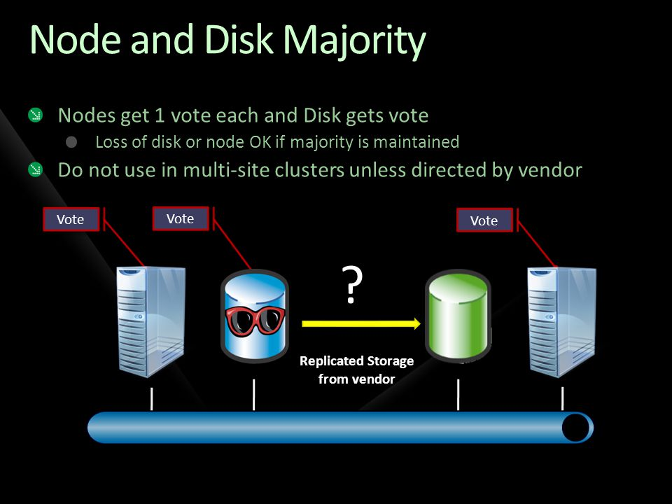 Node and Disk Majority Nodes get 1 vote each and Disk gets vote Loss of disk or node OK if majority is maintained Do not use in multi-site clusters un