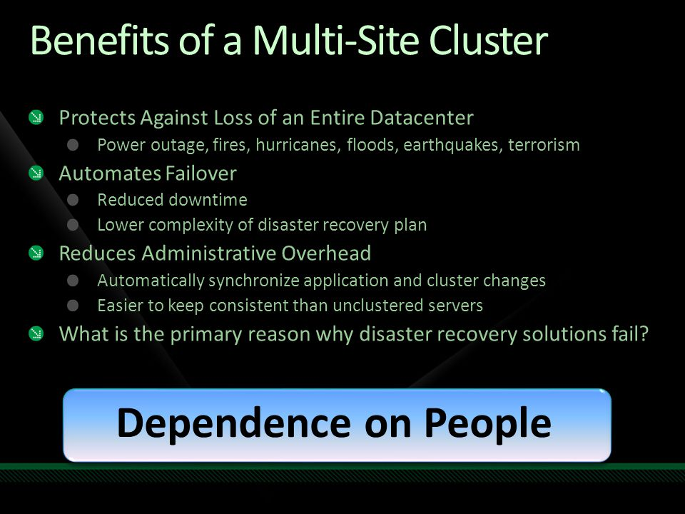 Multi-Site Clustering Checklist http://technet.microsoft.com/en-us/library/dd197546.aspx Organized multi-site cluster deployment guide