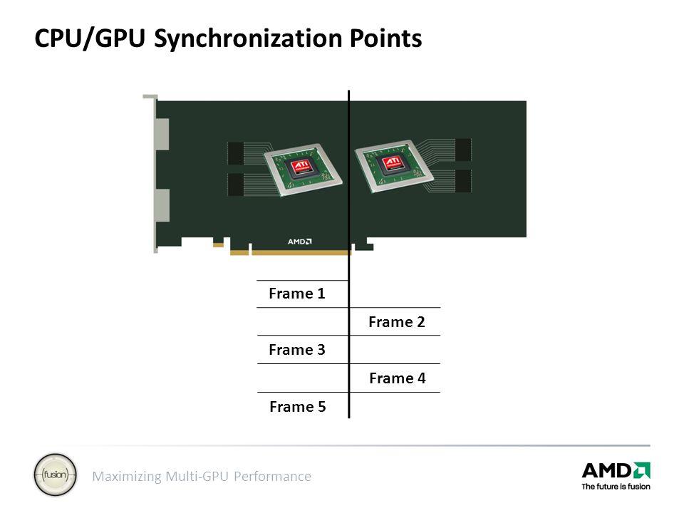 Maximizing Multi-GPU Performance CPU/GPU Synchronization Points Frame 1 Frame 3 Frame 2 Frame 4 Frame 5
