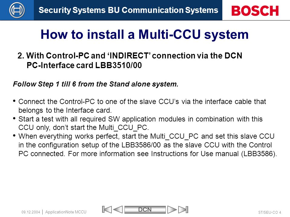 Security Systems BU Communication SystemsDCN ST/SEU-CO 4 ApplicationNote MCCU 09.12.2004 2.