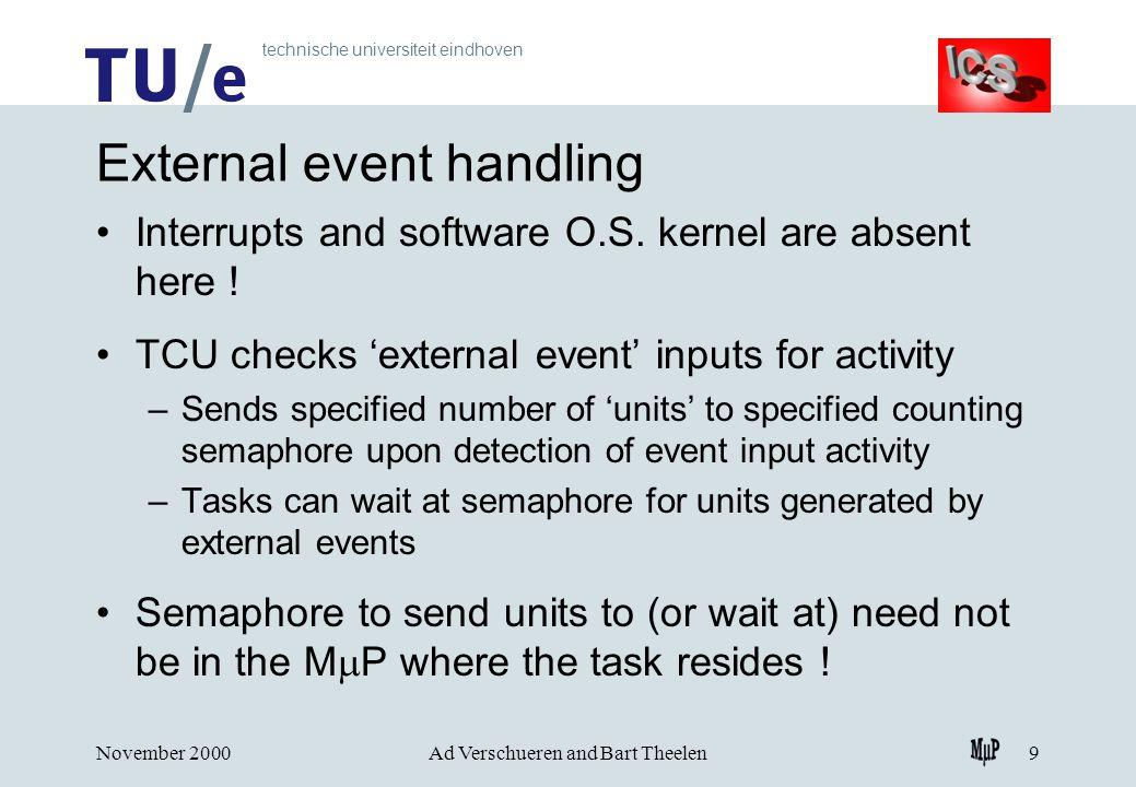 technische universiteit eindhoven November 2000Ad Verschueren and Bart Theelen9 External event handling Interrupts and software O.S.