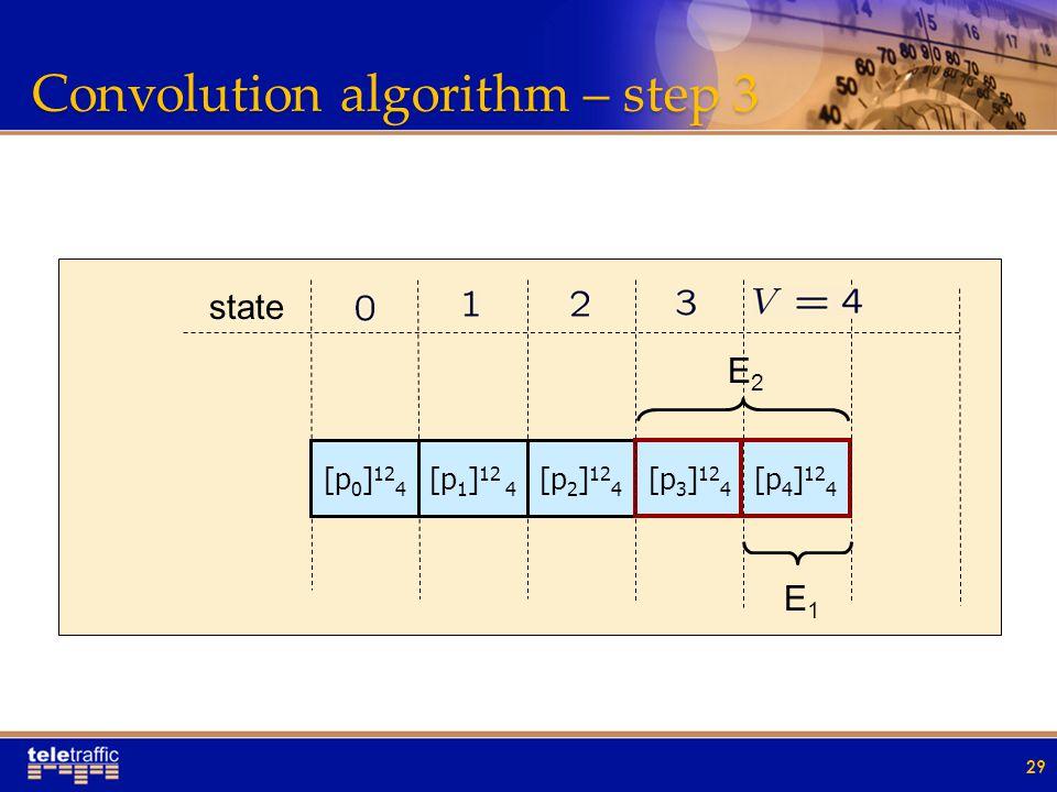 Convolution algorithm – step 3 29 [p 0 ] 12 4 [p 1 ] 12 4 [p 2 ] 12 4 [p 3 ] 12 4 [p 4 ] 12 4 state E2E2 E1E1
