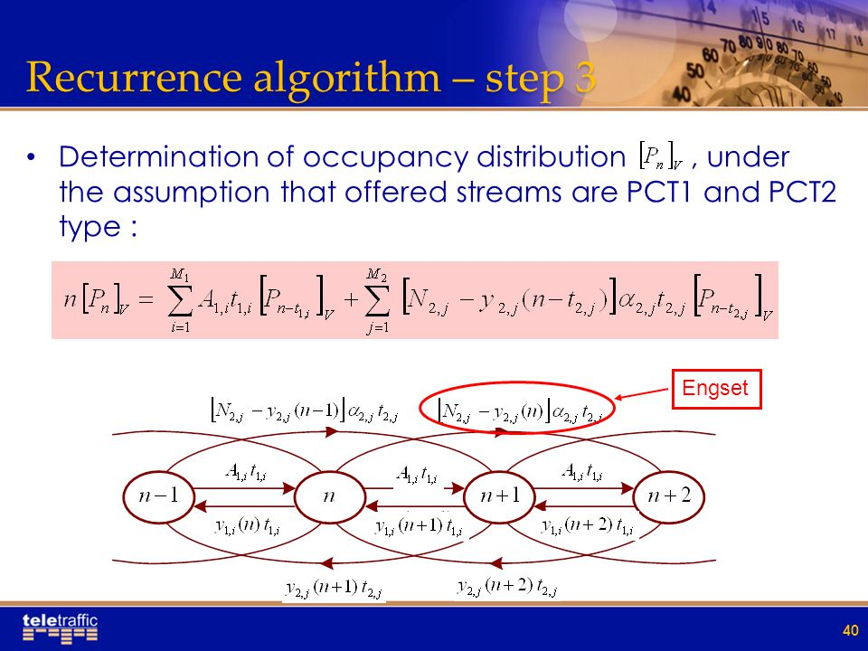 Recurrence algorithm – step 3 Determination of occupancy distribution, under the assumption that offered streams are PCT1 and PCT2 type : 40 Engset