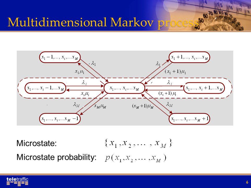 Multidimensional Markov process 6 Microstate: Microstate probability: 1 i M i 1 M