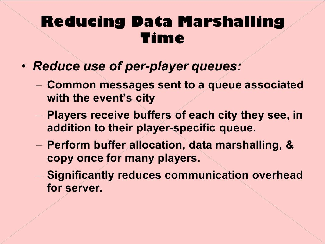 Reducing Data Marshalling Time Reduce use of per-player queues: – Common messages sent to a queue associated with the event's city – Players receive buffers of each city they see, in addition to their player-specific queue.